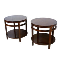 Pair of Sculpted Walnut Side Tables