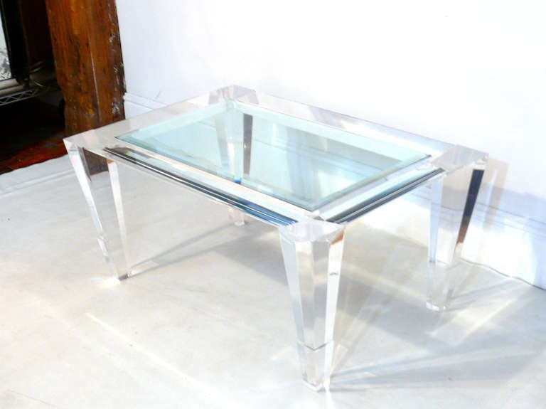 Lucite and glass prismatic cocktail or side table at 1stdibs for Used acrylic coffee table