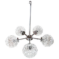 Five-Globe Glass and Chrome Sputnik Chandelier in the Style of Kalmar
