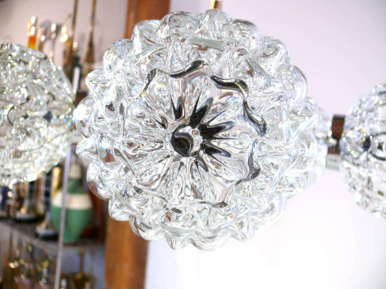 Five-Globe Glass and Chrome Sputnik Chandelier in the Style of Kalmar For Sale 1