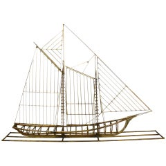 Curtis Jere Brass Sailboat Sculpture