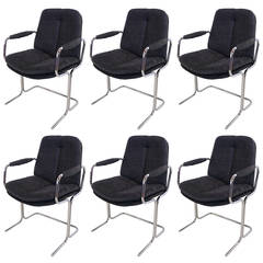 Set of Six Chrome Dining Chairs by Pieff, England
