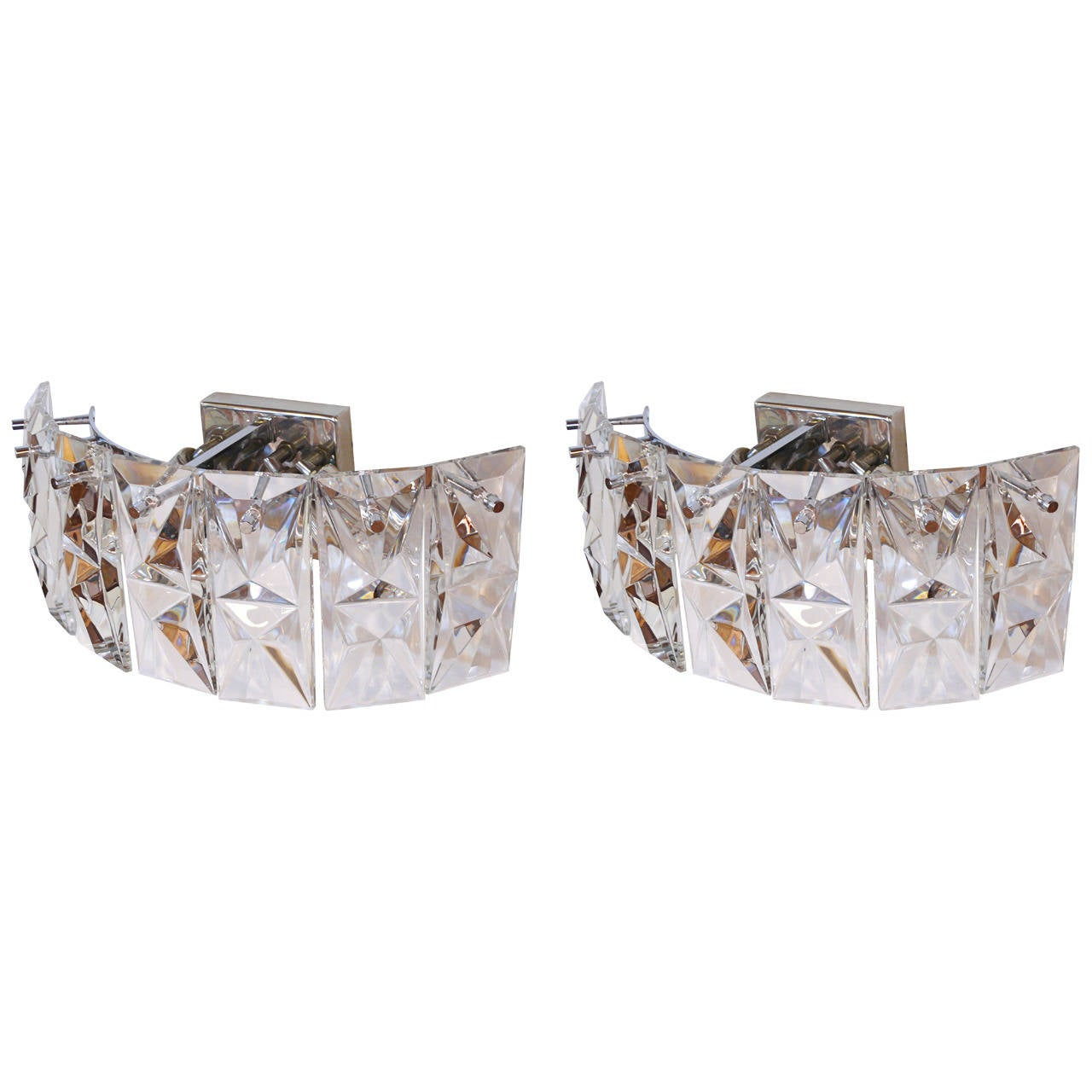 Pair of Prismatic Glass Sconces by Kindeley 1