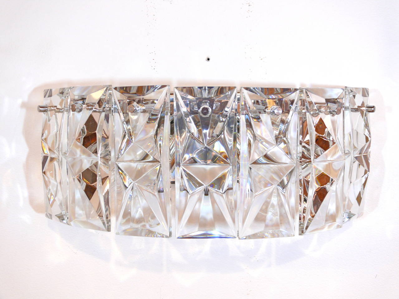 Pair of Prismatic Glass Sconces by Kindeley 3