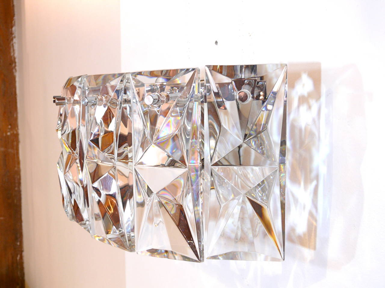 Pair of Prismatic Glass Sconces by Kindeley 8