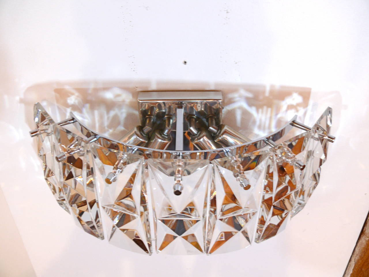 Pair of Prismatic Glass Sconces by Kindeley at 1stdibs