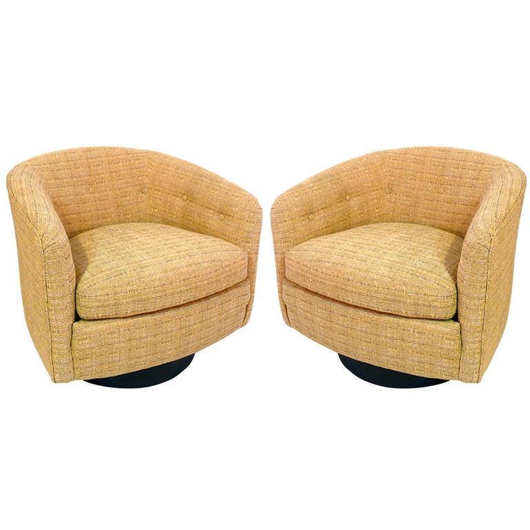 Pair of milo baughman swivel barrel chairs at 1stdibs