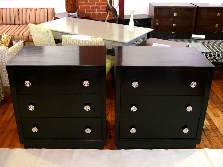 Mid-20th Century Pair of Ebonized Three-Drawer Midcentury Chests For Sale
