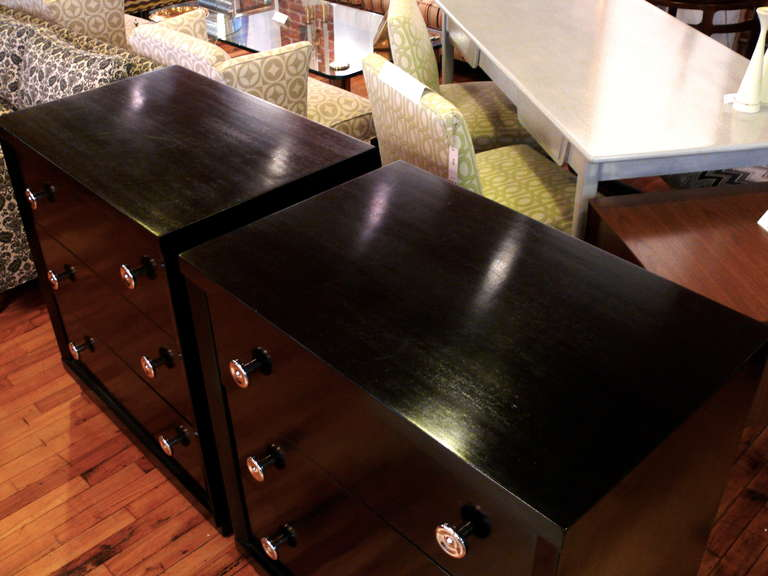 Nickel Pair of Ebonized Three-Drawer Midcentury Chests For Sale