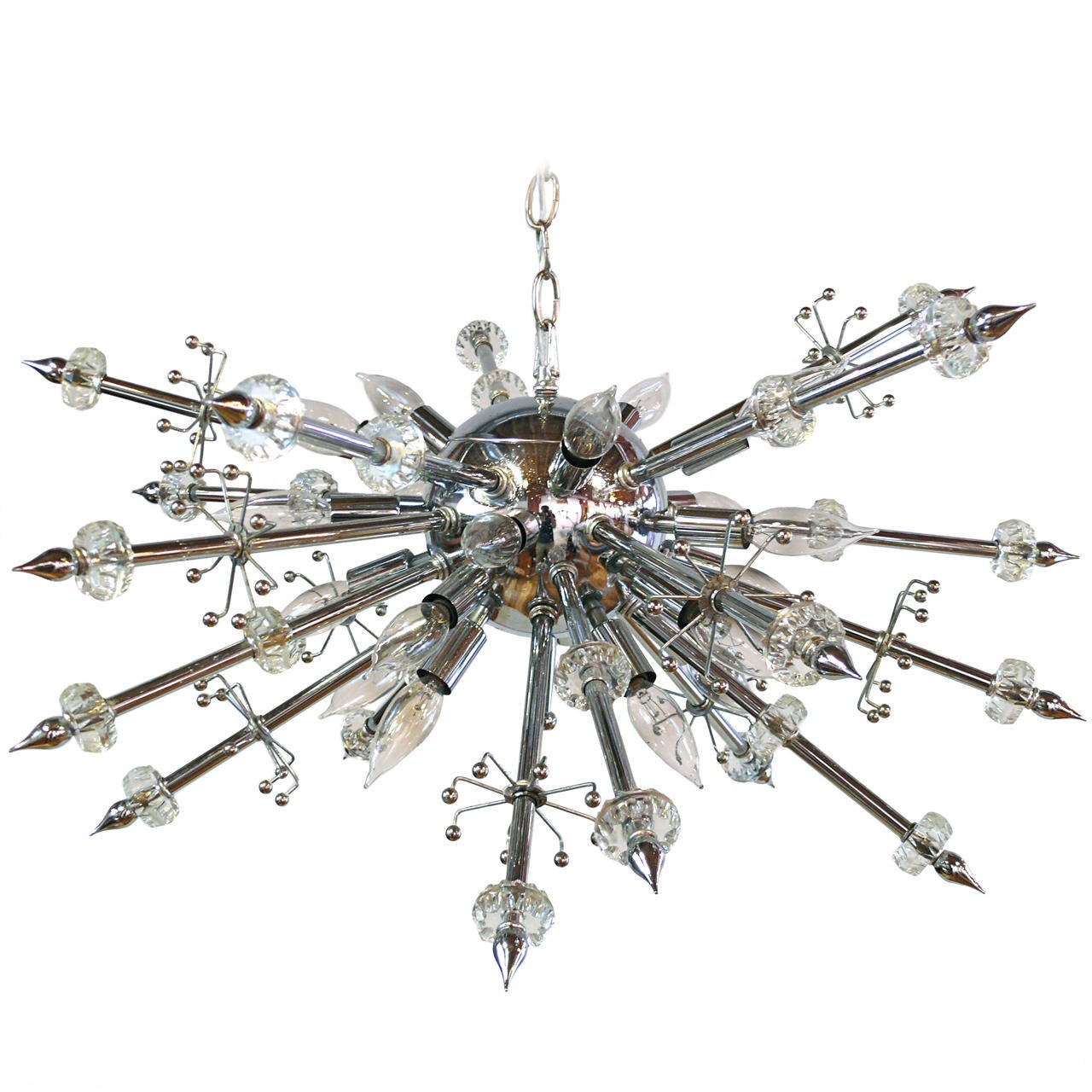 Chrome and Lucite Sputnik Chandelier For Sale
