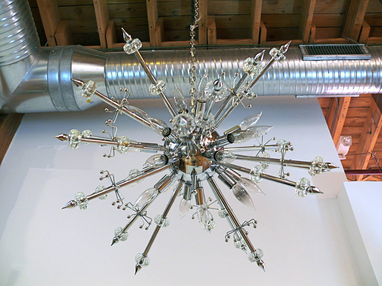 Chrome and Lucite Sputnik Chandelier For Sale 3