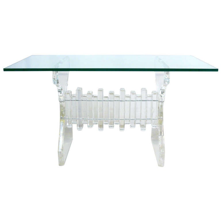 Extraordinary Lucite and Glass Console 1