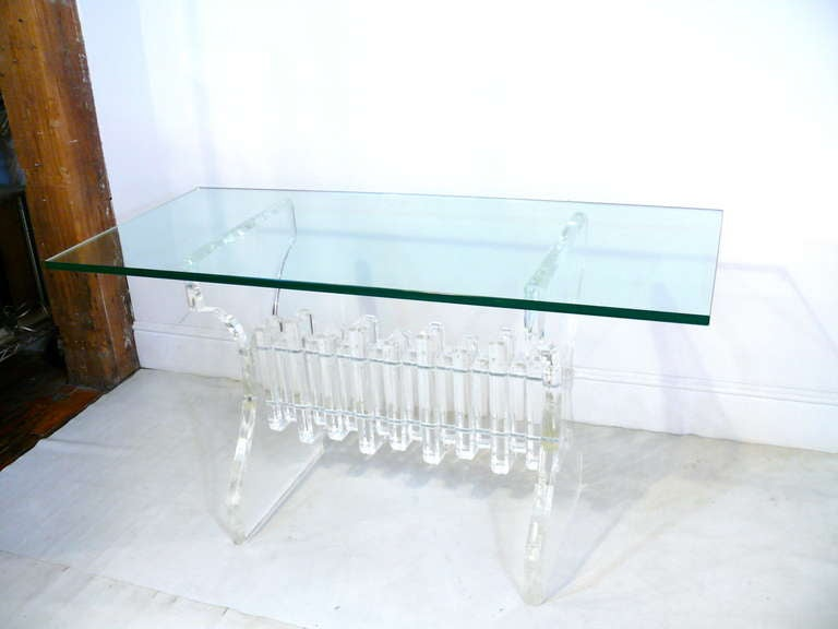Extraordinary Lucite and Glass Console 2