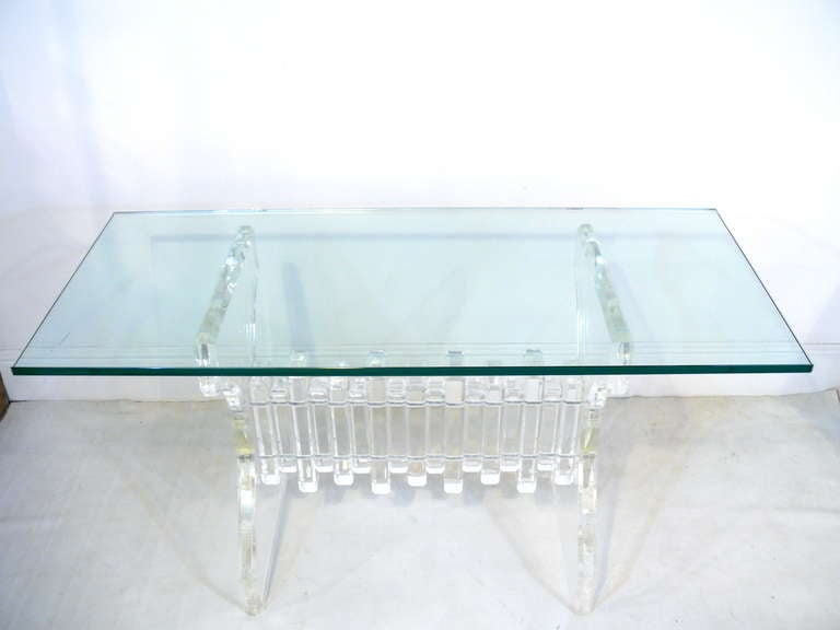 Extraordinary Lucite and Glass Console 4