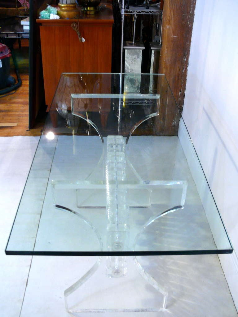 Extraordinary Lucite and Glass Console 9