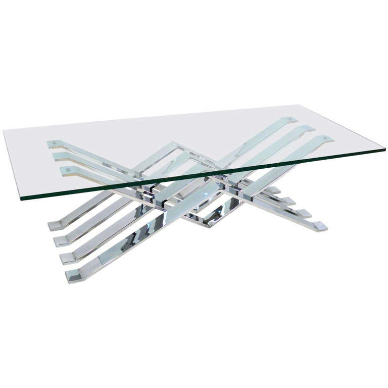 Chrome and Glass Zig-Zag Coffee Table For Sale