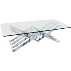 Chrome and Glass Zig-Zag Coffee Table
