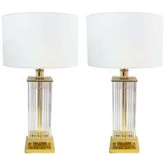 Pair of Lightolier Glass Rod Table Lamps