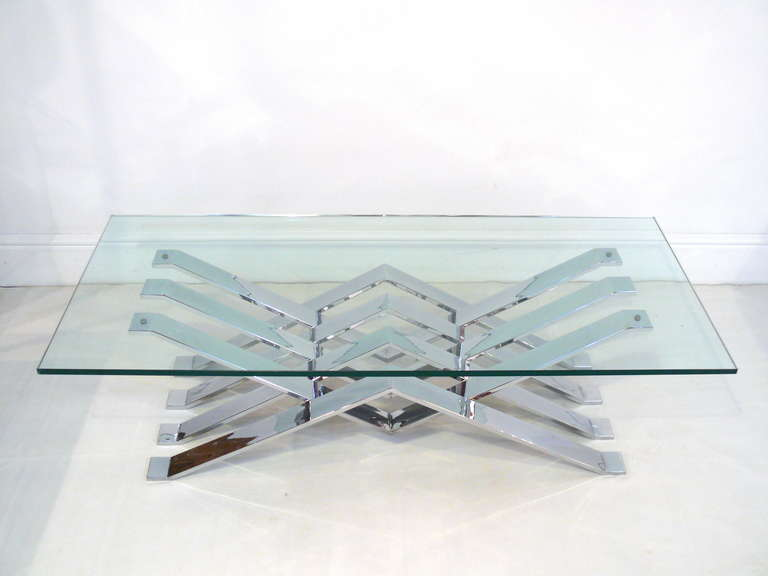Mid-Century Modern Chrome and Glass Zig-Zag Coffee Table For Sale