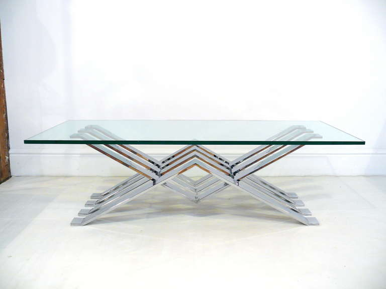 American Chrome and Glass Zig-Zag Coffee Table For Sale