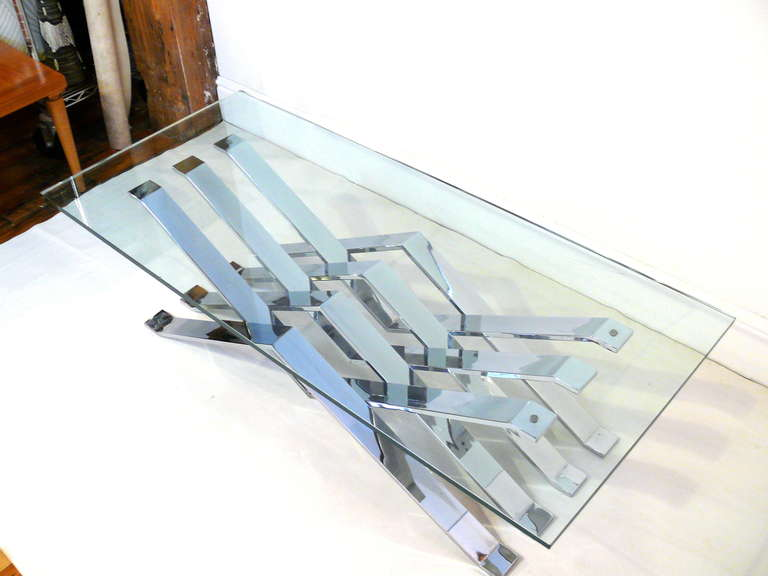 20th Century Chrome and Glass Zig-Zag Coffee Table For Sale