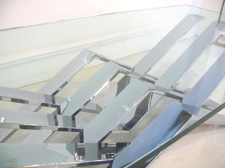 Chrome and Glass Zig-Zag Coffee Table For Sale 2