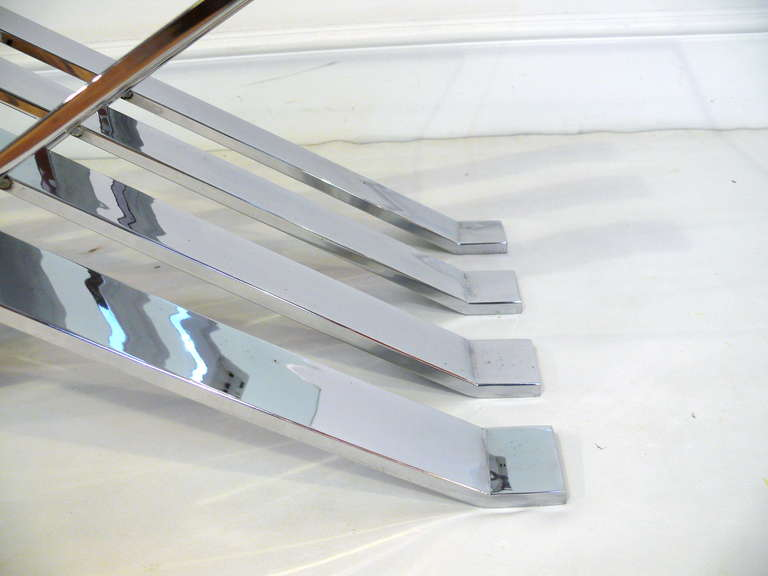 Chrome and Glass Zig-Zag Coffee Table For Sale 3