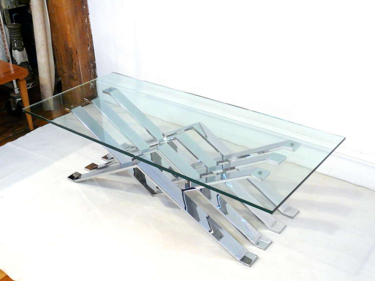 Chrome and Glass Zig-Zag Coffee Table For Sale 4