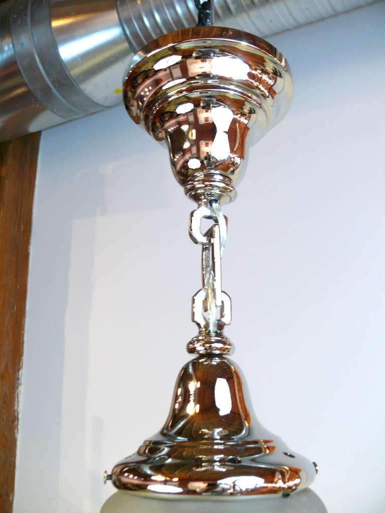 American 1930s Incised Star Glass and Nickel Chandelier For Sale