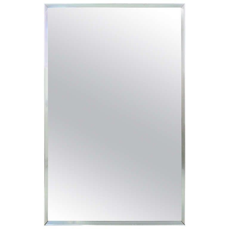 Mid-Century Aluminum Frame Mirror 1