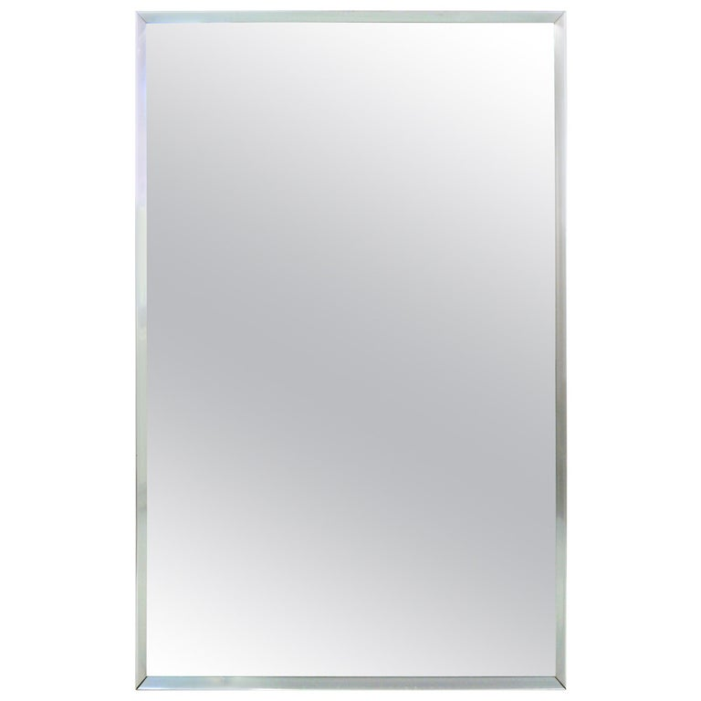 Mid-Century Aluminum Frame Mirror For Sale