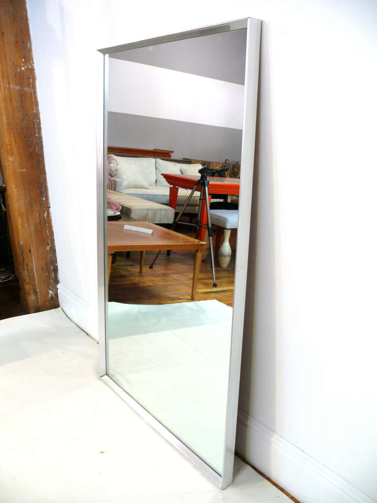 Mid-Century Aluminum Frame Mirror For Sale 2