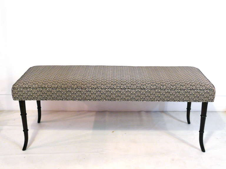 Faux Bamboo Mid-Century Modern Bench 3