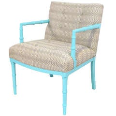 Tiffany Blue Faux Bamboo Chair