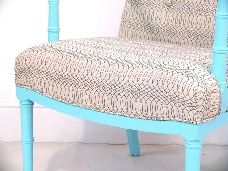 Tiffany Blue Faux Bamboo Chair At 1stdibs
