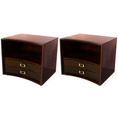 Pair of Paul Frankl Concave Front End Tables