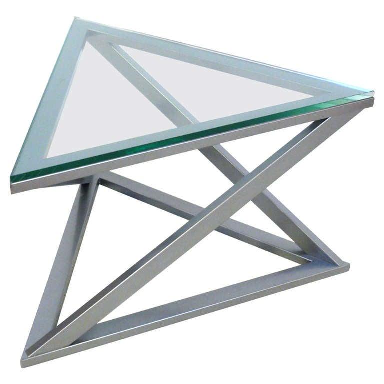Triangular Gun Metal Side Table At 1stdibs