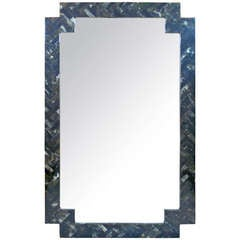 Tasselated Stone Mirror in the Style of Maitland Smith