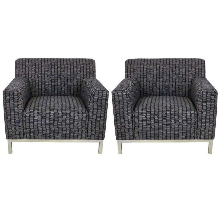 Pair of French Knoll Style Club Chairs 1
