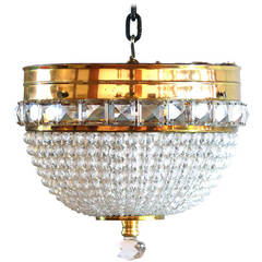 Crystal Bead and Brass Dome Chandelier