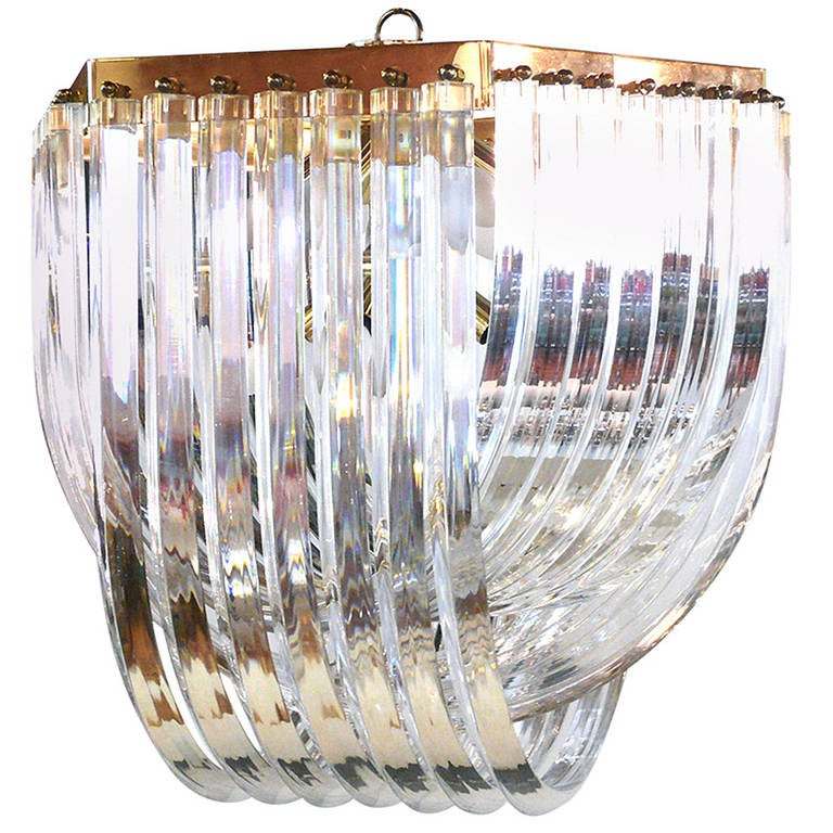 Iitalian Lucite and Brass Swag Chandelier For Sale