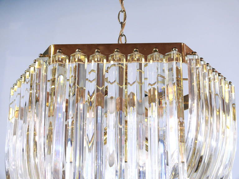 Iitalian Lucite and Brass Swag Chandelier For Sale 1