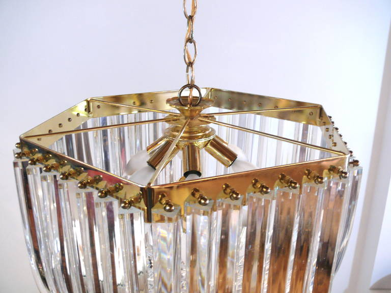 Iitalian Lucite and Brass Swag Chandelier 8