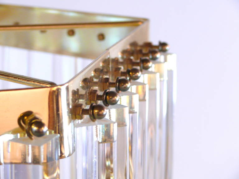 Iitalian Lucite and Brass Swag Chandelier In Excellent Condition For Sale In New York, NY