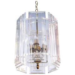 Lucite and Brass Hexagonal Deco Revival Chandelier