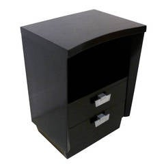 Midcentury Curved Front Ebonized, Two-Drawer End Table