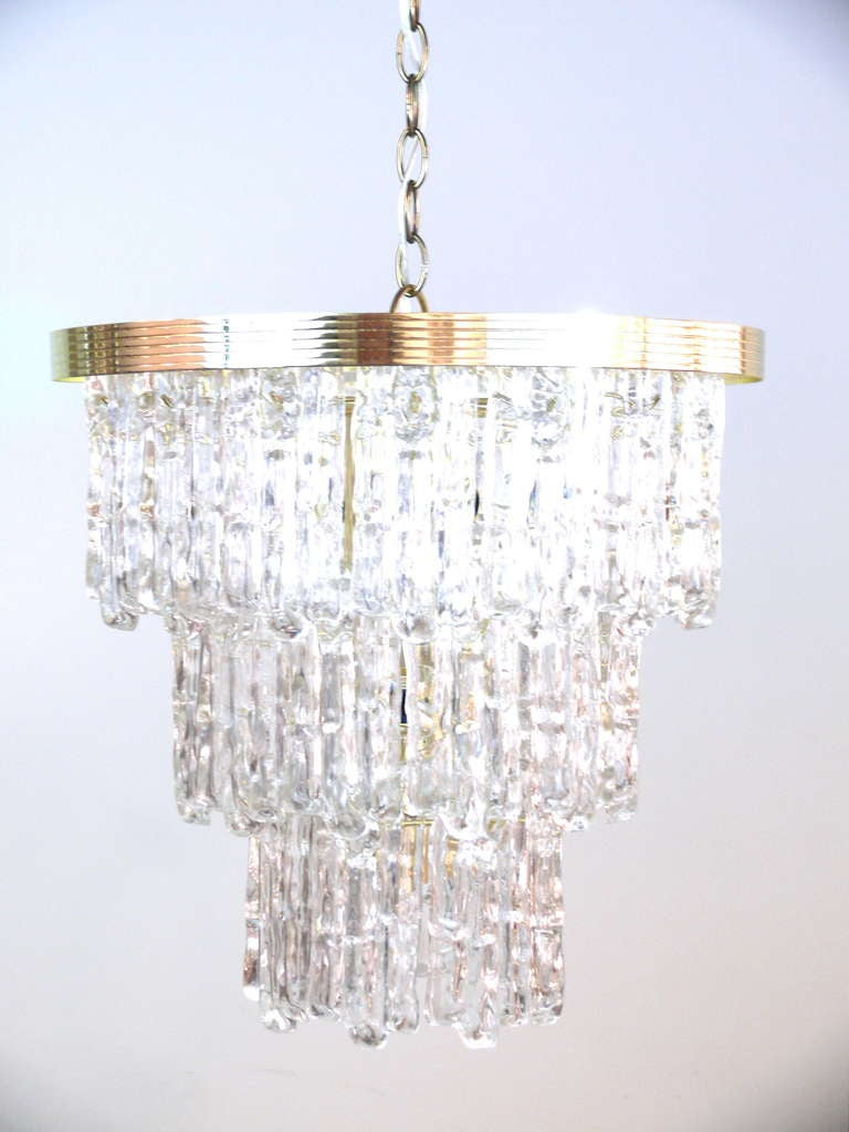 Tiered Lucite Icicle Chandelier For Sale 2