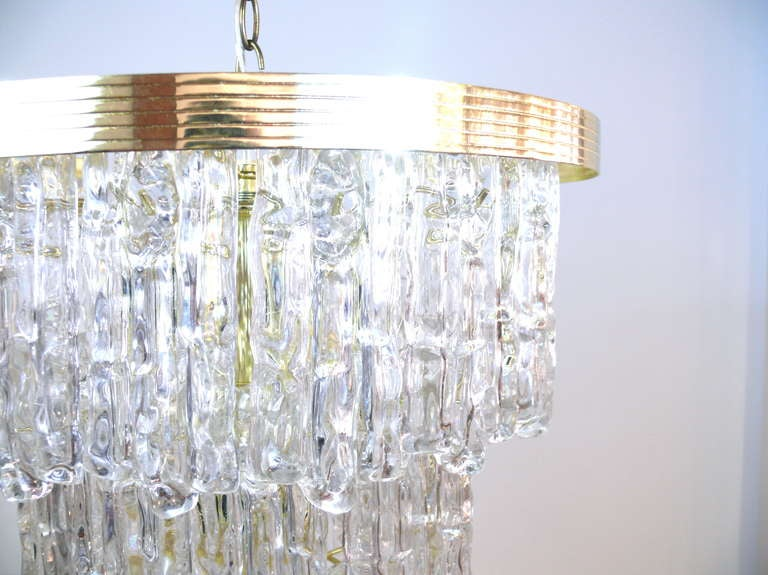 Mid-Century Modern Tiered Lucite Icicle Chandelier For Sale