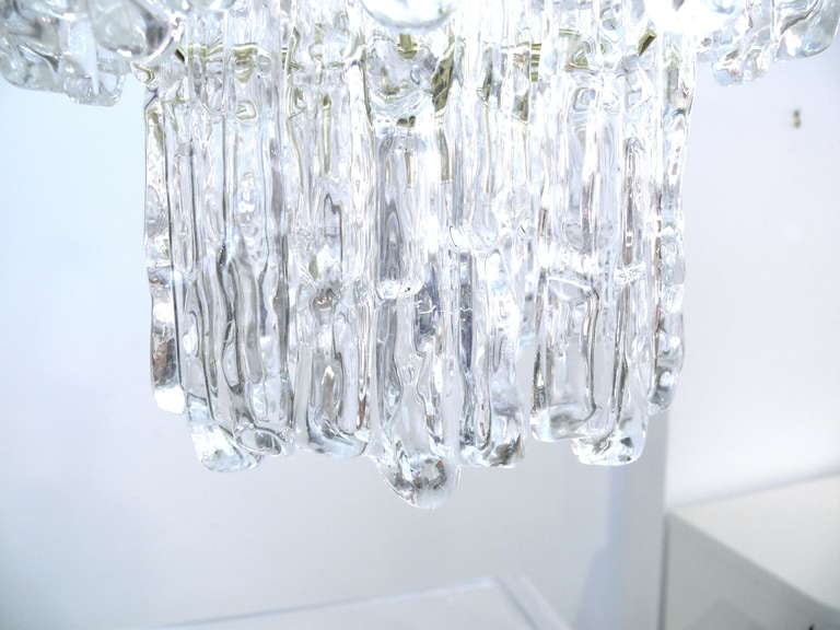 American Tiered Lucite Icicle Chandelier For Sale