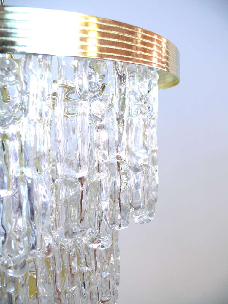 Brass Tiered Lucite Icicle Chandelier For Sale